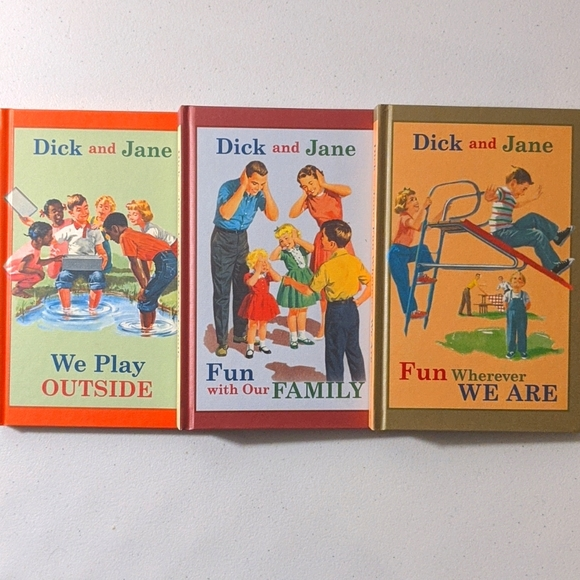 Dick and Jane 3 vintage style hard cover books